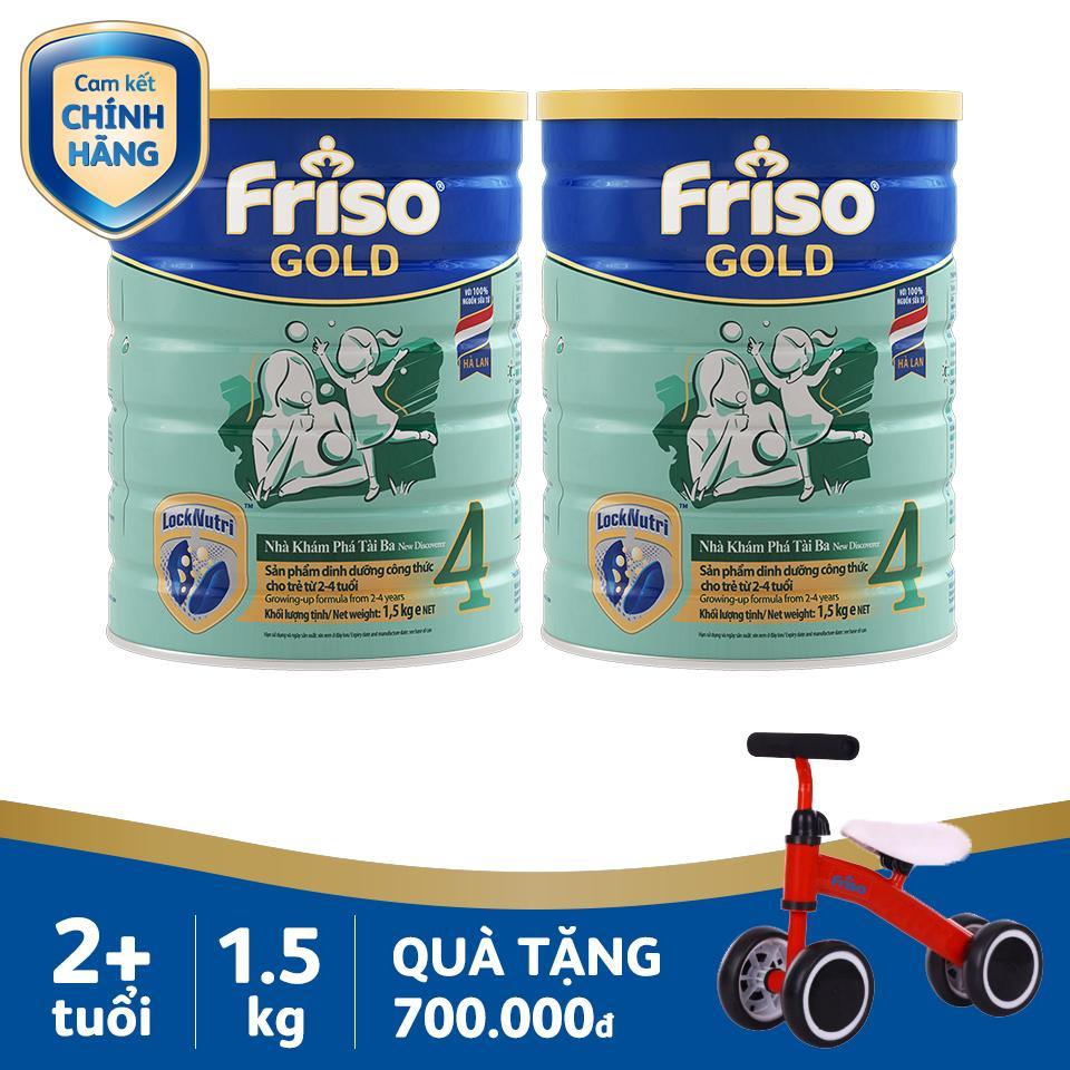 Bộ 2 Sữa bột Friso Gold 4 1.5kg + Tặng Xe cân bằng siêu cao cấp cho bé