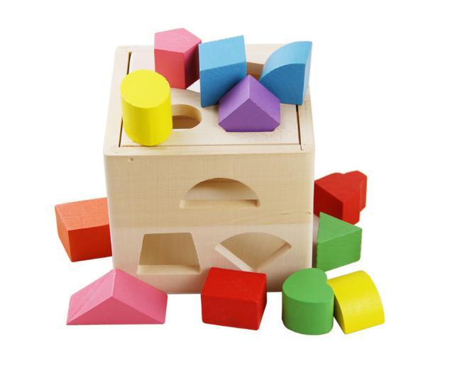 Hộp thả các khối hình học bằng gỗ - đồ chơi giáo dục Montessori