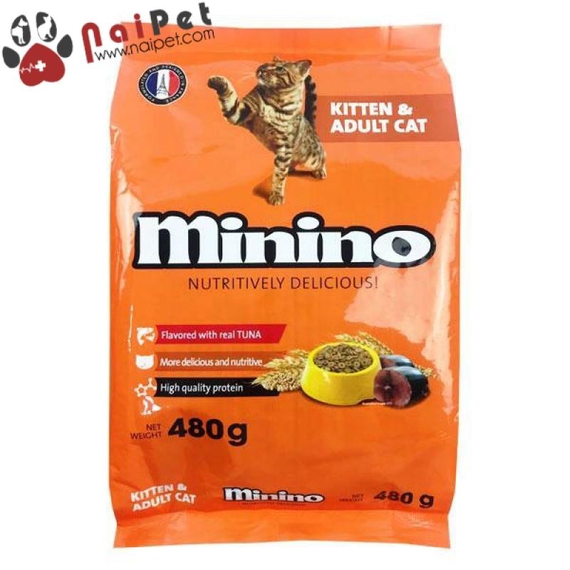 Thức Ăn Hạt Khô Cho Mèo Con Và Mèo Lớn Vị Cá Ngừ Minino Gói 480g