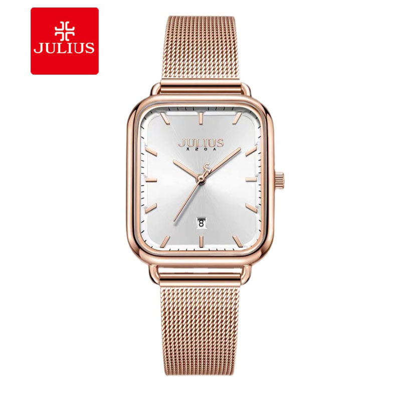Đồng hồ nữ Julius JA-1297 dây thép mặt chữ nhật size lớn