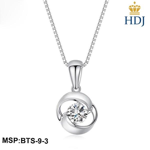 Combo dây chuyền và bông tai bạc Ý 925 Hình Vòng xoắn đính đá sang trọng trang sức cao cấp HDJ mã BTS-9-3