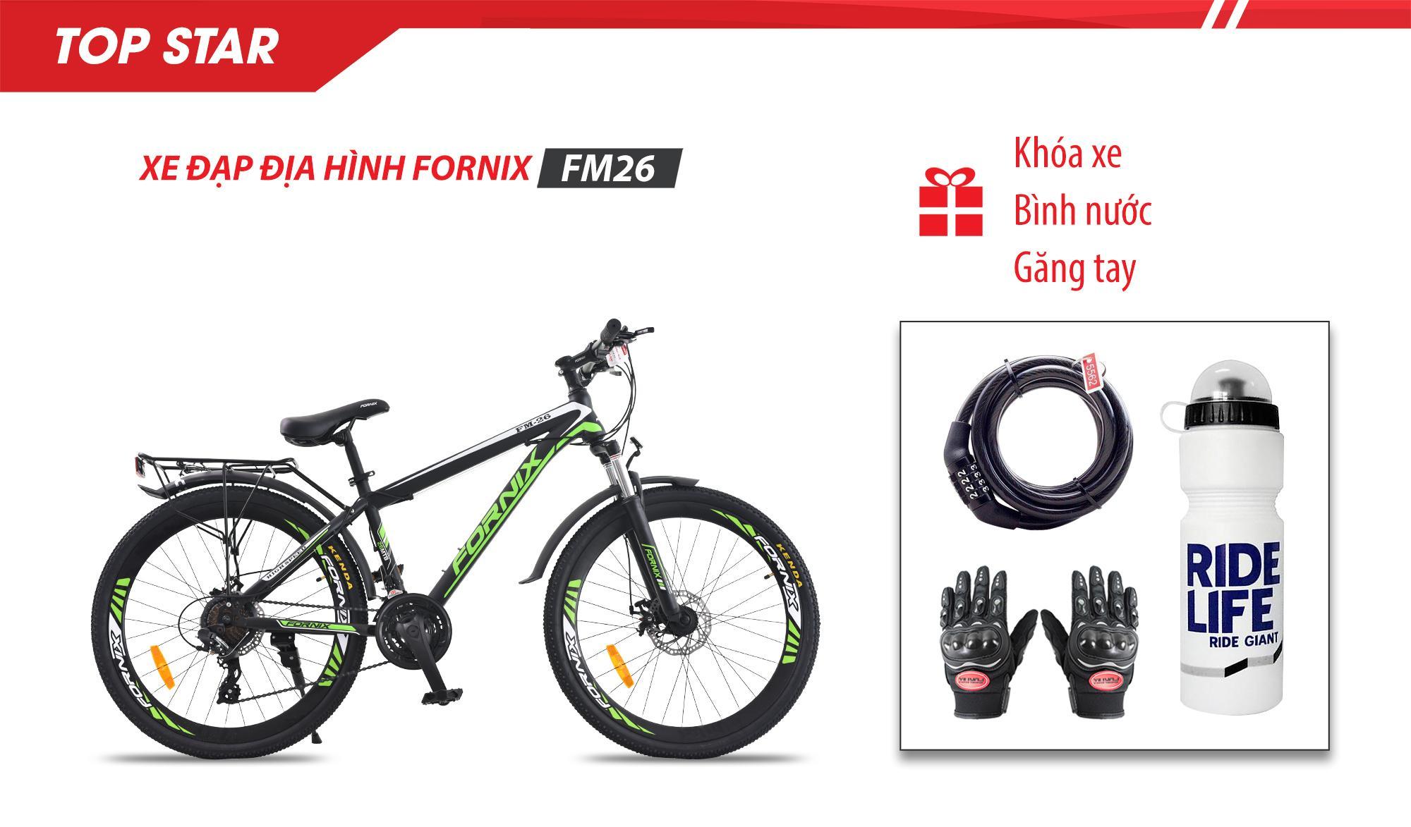 Mua Xe đạp địa hình thể thao FM26 - vòng bánh 26- Bảo hành 12 tháng + (gift) Găng tay, Bình nước, Khóa xe cao cấp
