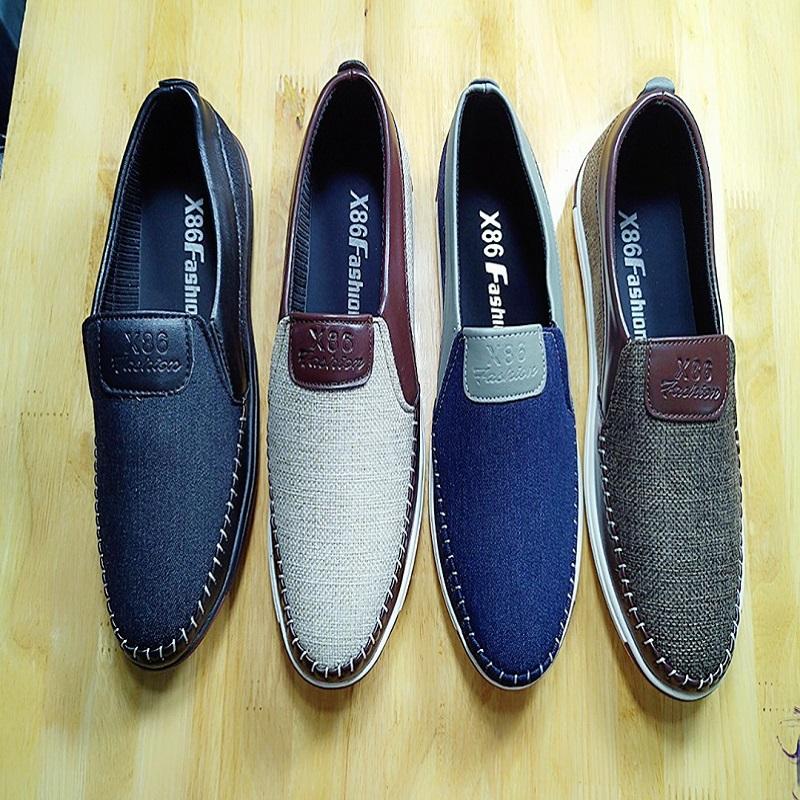 Giày lười nam thời trang vải bố cao cấp 4 màu đen - nâu -kem - xanh