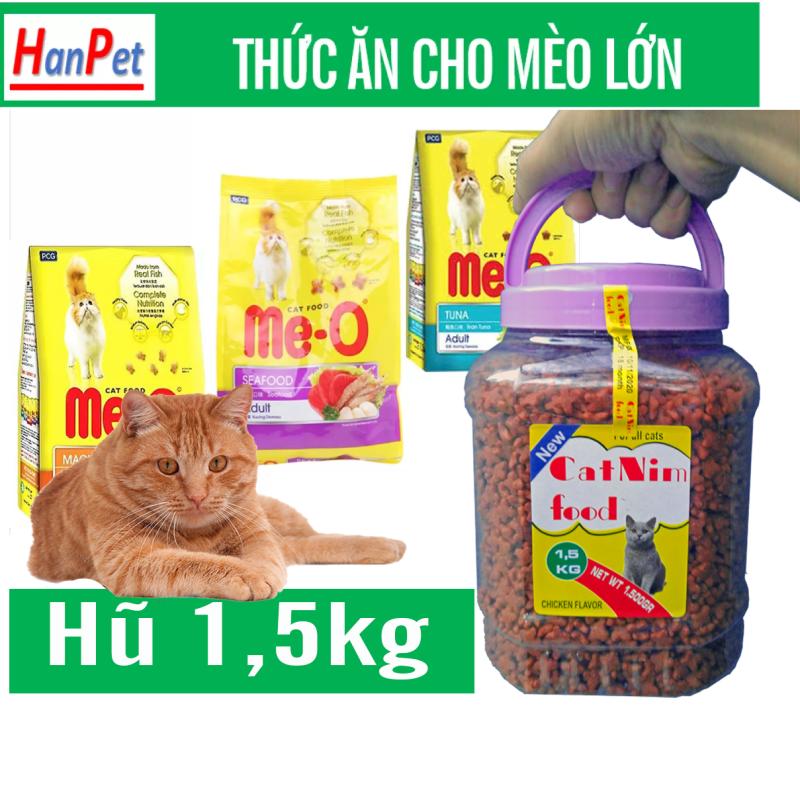 Hũ 1,5kg Thức ăn mèo ME-O 3 vị dạng hũ - thức ăn cho mèo lớn- thức ăn mèo lành tính đặc biệt tốt đối với những con mèo đường ruột yếu