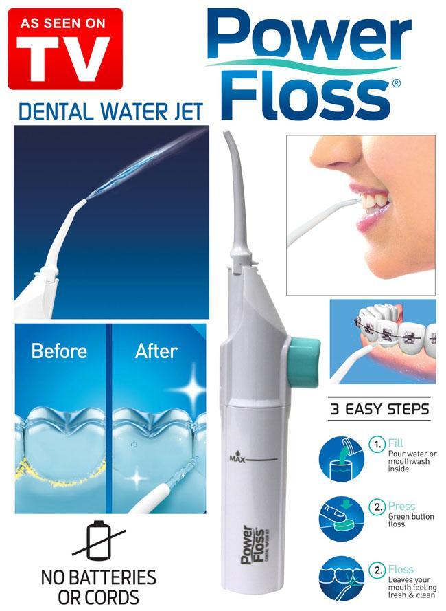 Dụng cụ chăm sóc răng miệng, làm trắng răng Fower Floss / Máy tăm nước cầm tay cho gia đình PoweFloss - Dụng Cụ Làm Sạch, Vệ Sinh Răng, Máy xịt tia nước vệ sinh răng miệng