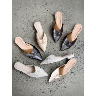 Sục nữ, giày nữ mũi nhọn da mềm kiểu xoắn chéo - A7 4