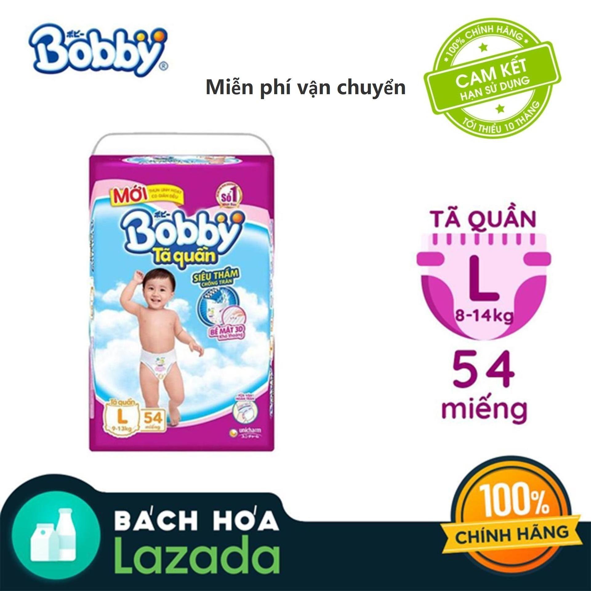 [Siêu thị Lazada] - Tã quần Bobby (hương trà xanh) gói siêu lớn L-54 miếng (9 - 13kg)