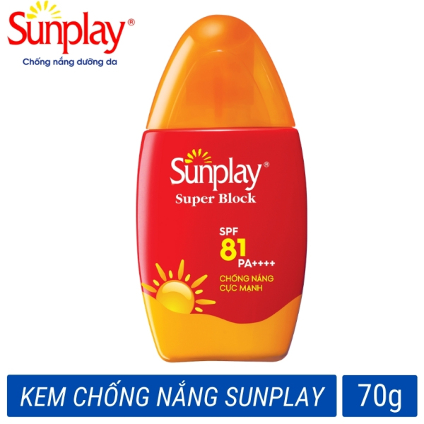 Kem chống nắng cho da mặt dạng sữa cực mạnh Sunplay Super Block SPF 81 PA++++ 70g