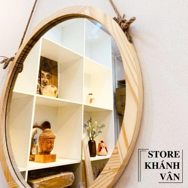 Gương Tròn Treo Tường Khung Gỗ Tự Nhiên Cao Cấp D60 - Gương tròn cao cấp D60 - Gương tròn khung gỗ tự nhiên D60 - Gương tròn trang trí treo tường D60 - sản phẩm có kèm vít treo tường - Gương tròn D60 - Khánh Vân Store
