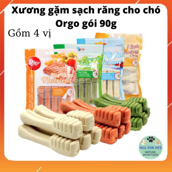 Xương gặm sạch răng bố sung canxi cho chó Orgo gói 90 g - 4 mùi vị
