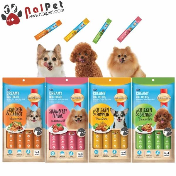 Bánh Thưởng Dạng Kem Cho Chó Gói 4 Thanh Smartheart Creamy Dog Treats 60g
