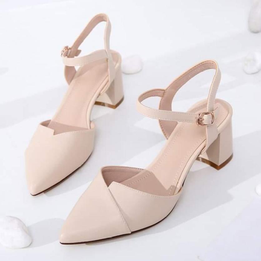 Giày cao gót bít mũi đế vuông 5p thời trang- hình thật giá rẻ