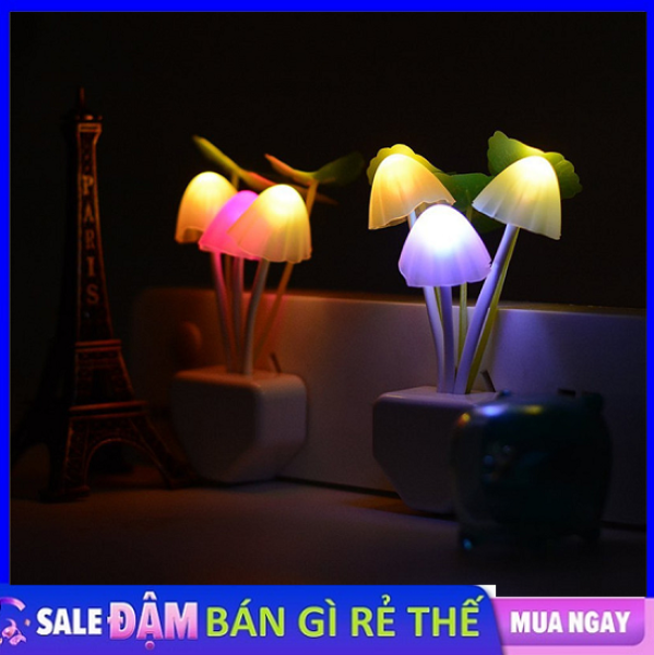 Đèn nấm LED tự động cảm ứng bảo vệ mắt sáng tạo đèn ngủ biến đổi 7 sắc cầu vồng đèn đầu giường cắm điện tiết kiệm đèn cho bé bú ngủ trang trí nhà cửa phích cắm đầu tròn