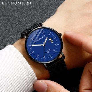 Đồng hồ nam ECONOMICXI dây thép lưới đen chạy lịch ngày cao cấp (Full box) ECO098 thumbnail
