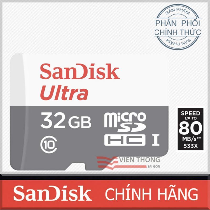Thẻ nhớ MicroSDHC SanDisk Ultra 32GB 48MB/s (Xám) Đã được hãng nâng cấp lên 80MB/s