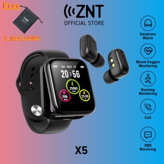 [Mới] ZNT Watch S Đồng hồ thông minh kiêm tai nghe không dây kết nối bluetooth 5.0 không thấm nước IPX5 có chức năng theo dõi sức khỏe và nhận thông báo cuộc gọi tin nhắn - INTL thumbnail