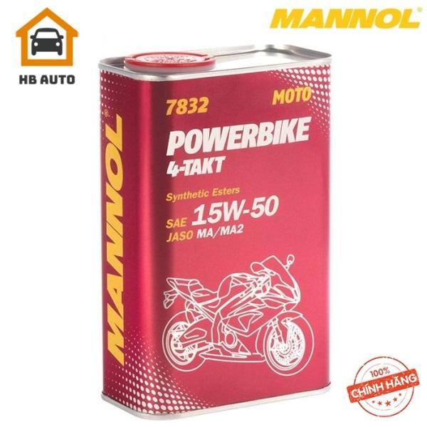 [Cao Cấp] Nhớt MANNOL 7832 4-Takt Powerbike ESTER 15W-50 SM  1Lít Dành Cho Xe Đi Xa, Chạy Đua & PKL