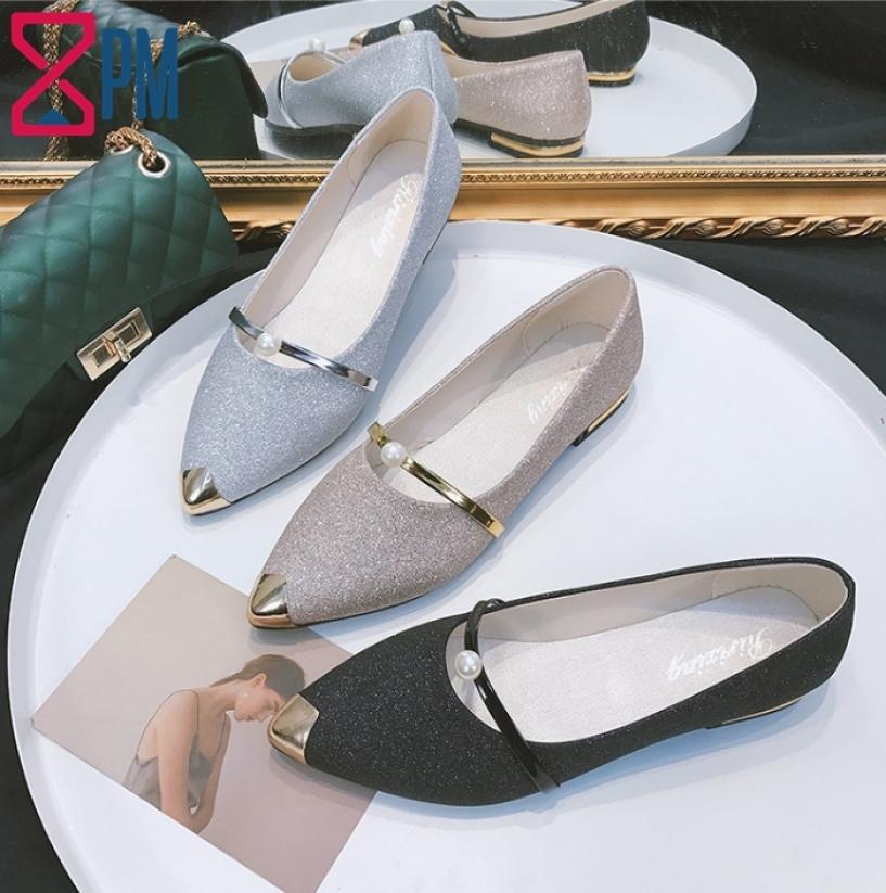 Giày Búp Bê Nữ Gót Vuông Kim Tuyến Mũi Nhọn Thời Trang G1501 giá rẻ