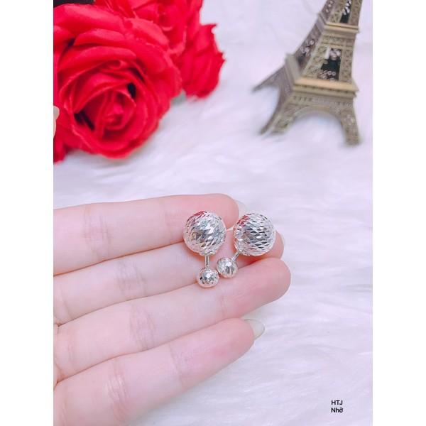 Bông tai Dior bạc phay sáng bóng bạc ta loại nhỡ