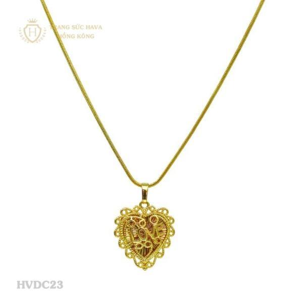 Vòng Cổ, Dây Chuyền Nữ Mặt Trái Tim chữ LOVE Titan Xi Mạ Vàng - Trang Sức Hava Hồng Kông