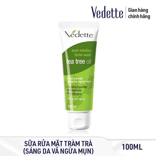 Sữa Rửa Mặt Sáng Da, Ngừa Mụn Tràm Trà Vedette (Tea Tree Oil) 100ml
