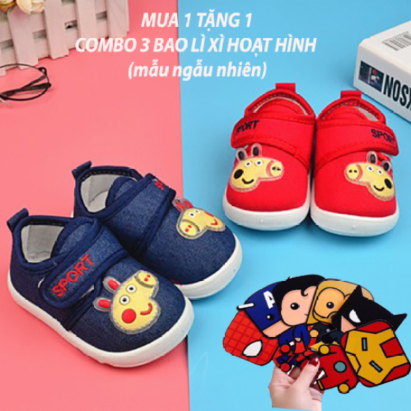 Giày tập đi cho bé trai và gái từ 0-3 tuổi quai dán tiện lợi đế cao su mềm êm chân giá rẻ