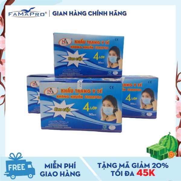 Combo 4 hộp khẩu trang y tế 4 lớp kháng khuẩn Famapro (50 cái / Hộp)