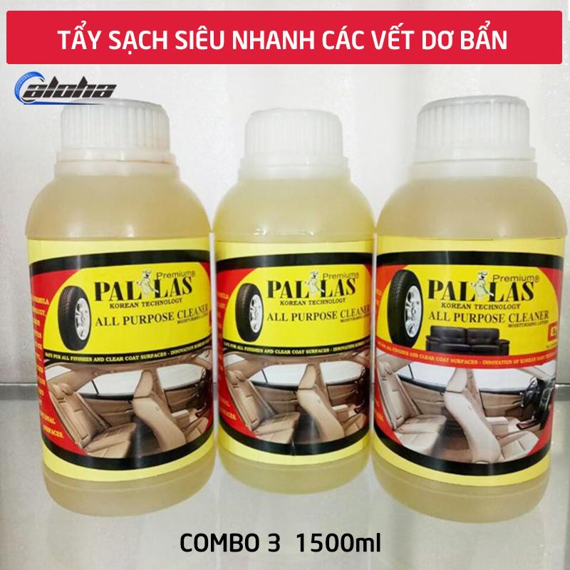 Combo3 Dung dịch tẩy rửa đa năng Pallas 500ml, nước tẩy làm sạch nhanh ghế da, simili, nội thất xe,taplo, lốp xe hơi, ô tô, xe khách_P-0503
