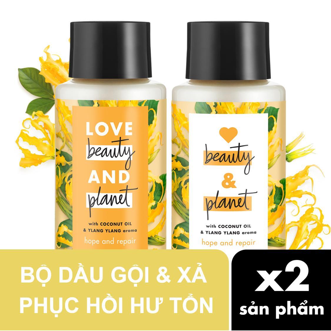 Combo phục hồi tóc hư tổn dầu gội & dầu xả Love Beauty & Planet 400ml