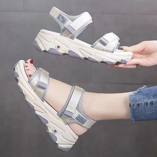 Dép sandal hai quai nữ độn đế gợn sóng mẫu mới 2020 có 3 màu (Xanh-Đen-Xám) TGS091 thumbnail