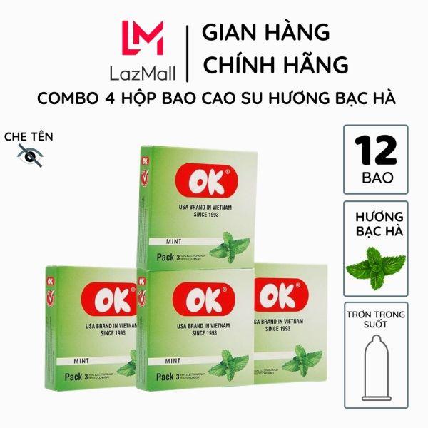 Bao cao su OK hương bạc hà combo 4 hộp 12 bao trơn không mùi từ mủ cao su tự nhiên siêu mỏng chống tuột khéo dài thời gian