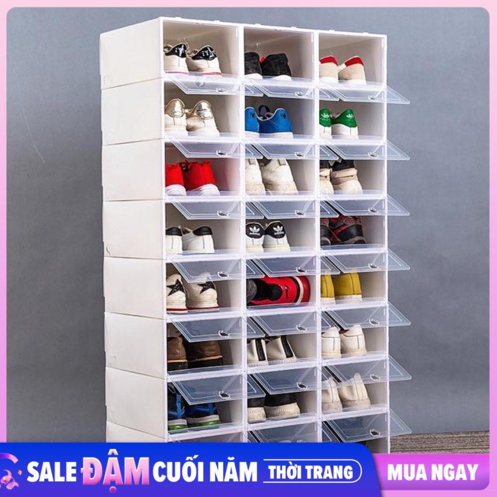 Combo 10 Hộp Đựng Giày Dép, Hộp Bảo Quản Giày Nắp Nhựa Cứng Siêu Tiết Kiệm
