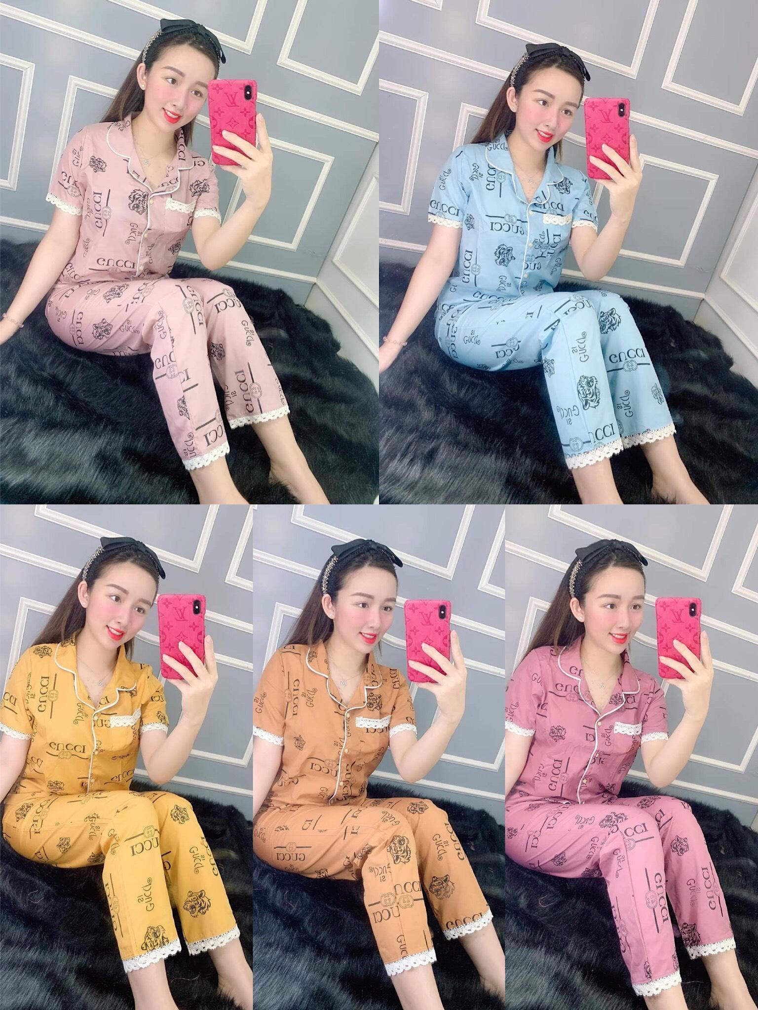 Deal Ưu Đãi Đồ Bộ Pijama Tay Ngắn Quần Dài Vải Kate Lụa Mềm Mịn Phối VIỀN Siêu Xinh Dưới 57kg CAM KẾT GIAO ĐÚNG MẪU Nguyên Khánh Store