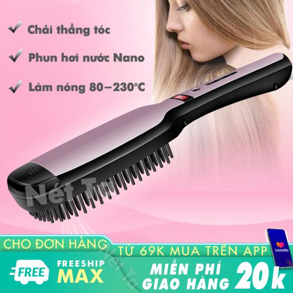 Lược điện điều chỉnh nhiệt cao cấp KEMEI KM-HC111 tích hợp phun hơi nước nano chăm sóc tóc