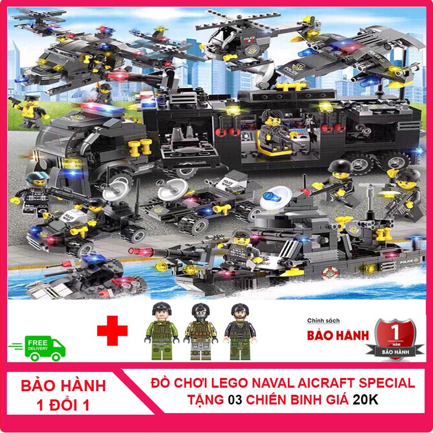 [MUA 1 TẶNG 3 - CÓ VIDEO] Bộ Lego đồ chơi xếp hình bé trai naval aircraft special military gồm 710 chi tiết được làm bằng nhựa ABS an toàn cho trẻ em được tặng kèm 3 hình nhân chiến binh CS1007