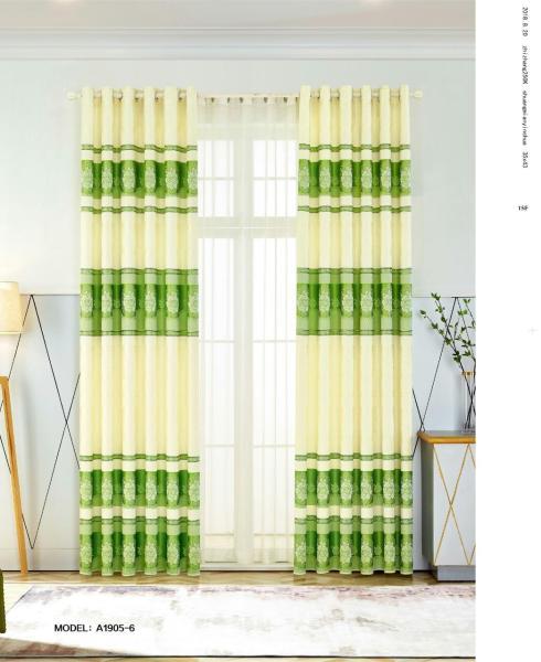 Màn Rèm Cửa Chính - Rèm Cửa Sổ - Vải Gấm HQ - Vải dày rủ đẹp - Kiểu Khoen Ore - Mẫu 1905-6 - Tuỳ chọn kích thước từ 150cm đến 500cm (Xanh lá)