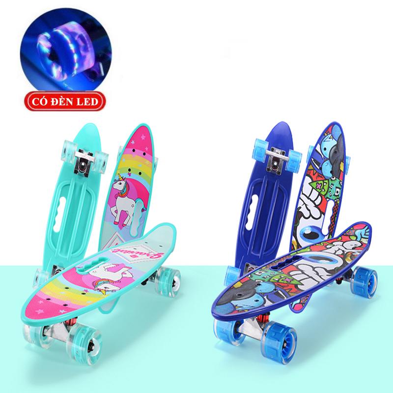 Giá bán Ván Trượt Skateboard Có Đèn Led, Ván Trượt Thể Thao Đạt Chuẩn Thi Đấu Cho Trẻ Em và Người Lớn Có 4 Bánh Phát Sáng