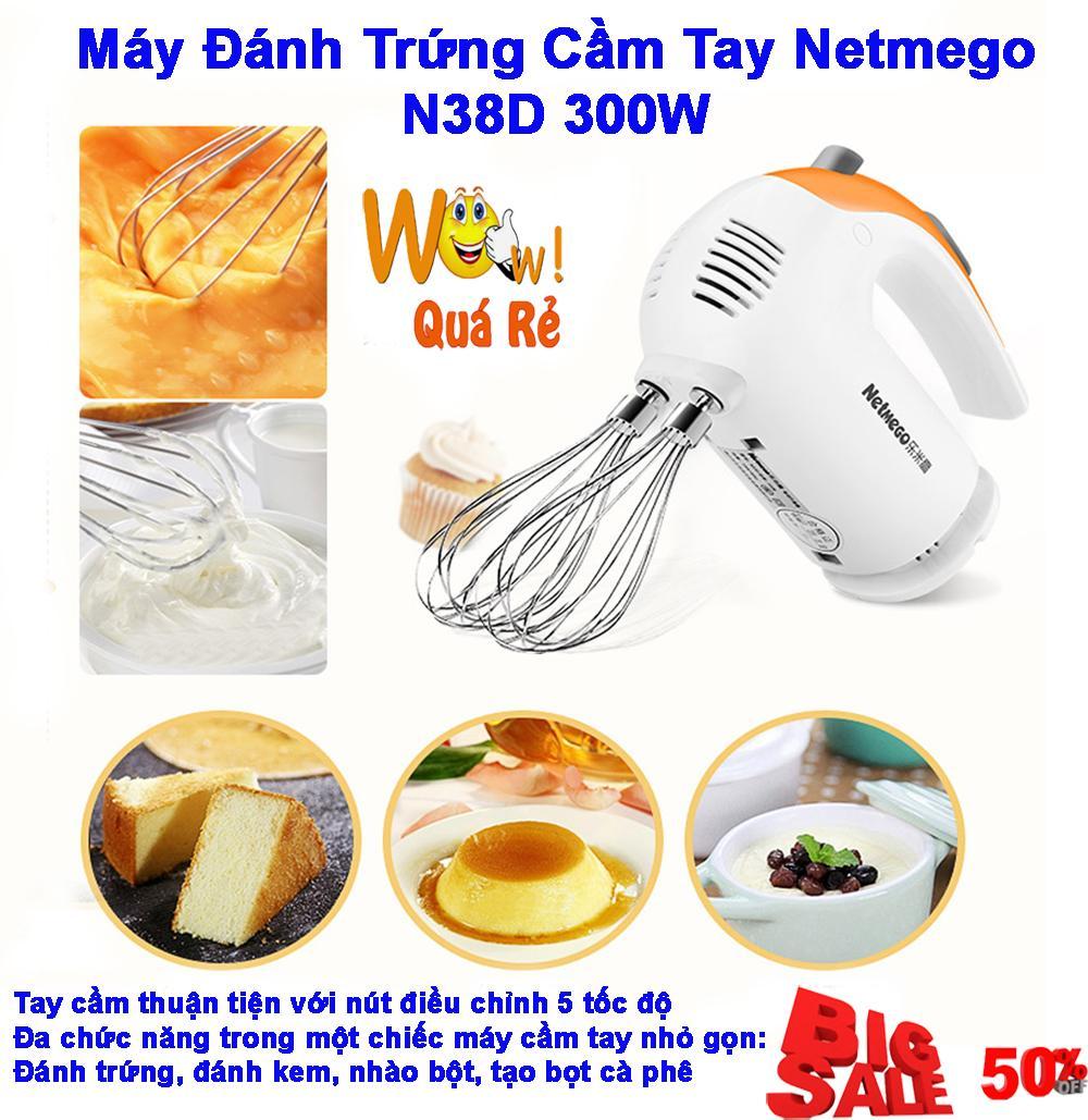 Máy Đánh Trứng,Máy Đánh Trứng Cầm Tay Đa Chức Năng Netmego N38D Hàng Cao Cấp,Đánh Trứng,Đánh kem,Nhào Bột,Tạo Bọt Cà Phê..