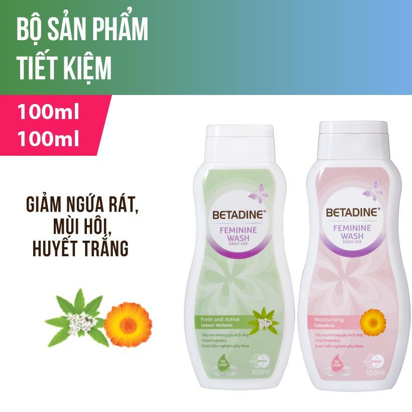 Bộ 2 Dung dịch vệ sinh phụ nữ Xanh và Hồng 100ml/chai cao cấp