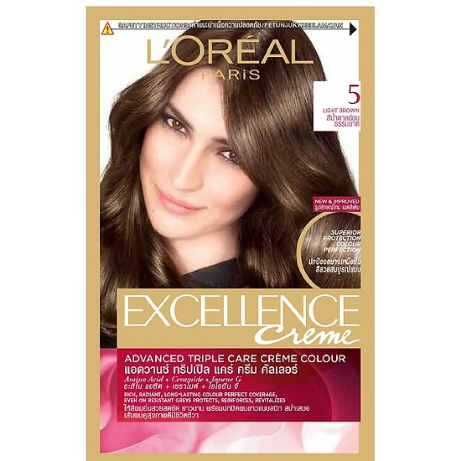 Thuốc nhuộm tóc Loreal Excellence Creme #5 Light Brown ( Nâu hạt dẻ ) - Tặng nón trùm tóc