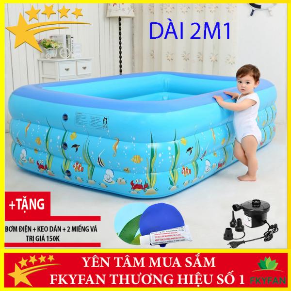 [Tặng Bơm ĐIỆN] Bể bơi cho bé trong nhà 3 tầng 2m1 hình chữ nhật 210x150x60 bồn tắm hơi cho bé , bồn tắm trẻ em bơm hơi + Tặng kèm keo miếng vá