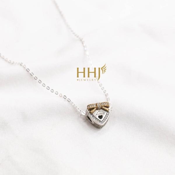Dây chuyền charm hộp quà tim đính nơ vàng đính đá- HHJ - Bạc S95