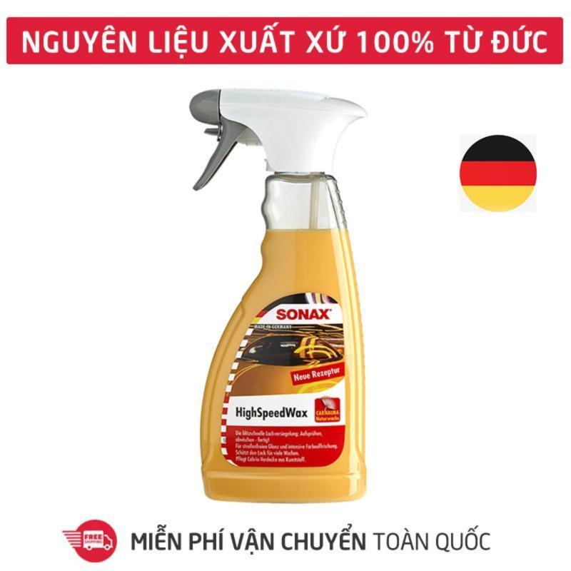 Dung dịch xịt phủ đánh bóng bảo vệ nhanh mặt sơn SONAX highspeed wax 500ml dùng cho xe hơi, xe ô tô, thích hợp cả bảo dưỡng nhựa và cao su_SN-288200