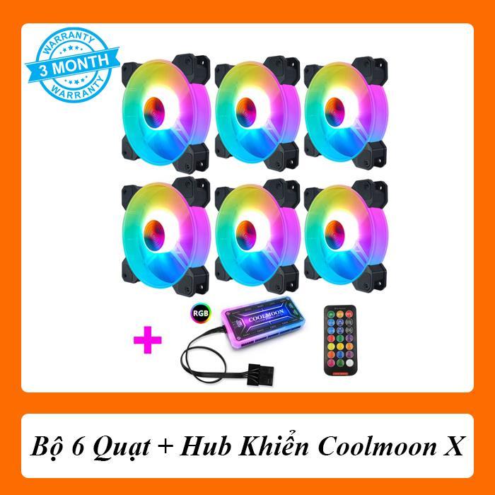 Giá Bộ 6 Quạt + Hub Khiển Coolmoon X RGB