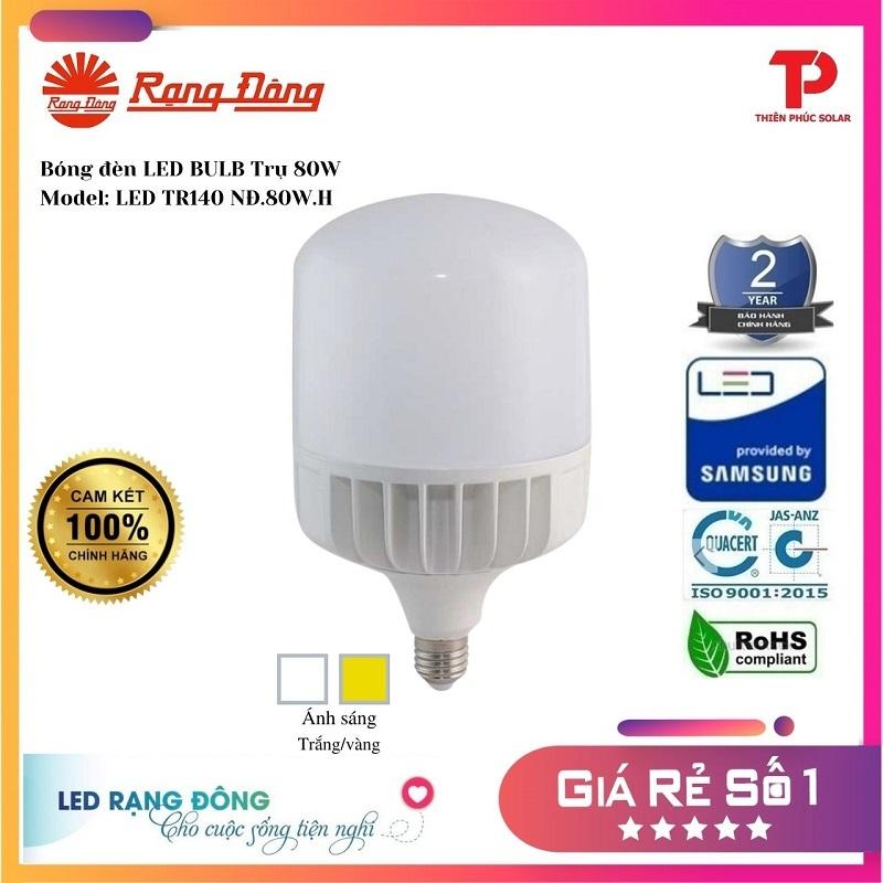 [Shop Chính Hãng]  Bóng đèn LED BULB Trụ Nhôm 80W - Model: LED TR140NĐ.80W.H Rạng Đông