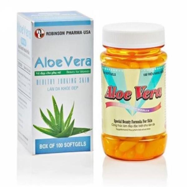 Đẹp Da, Dưỡng Ẩm, Chống Lão Hoá, Mờ Sẹo - Aloe Vera Sữa Ong Chúa - Robinson Pharma Usa - C/100v