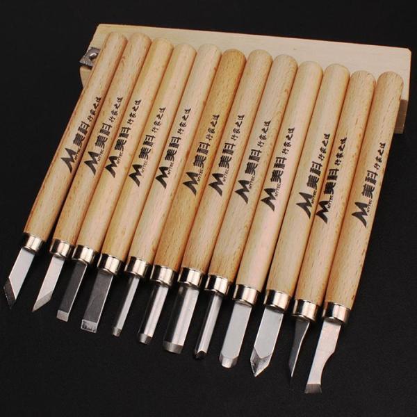 Bộ 12 mũi điêu khắc gỗ mini lưỡi thép hợp kim SK5