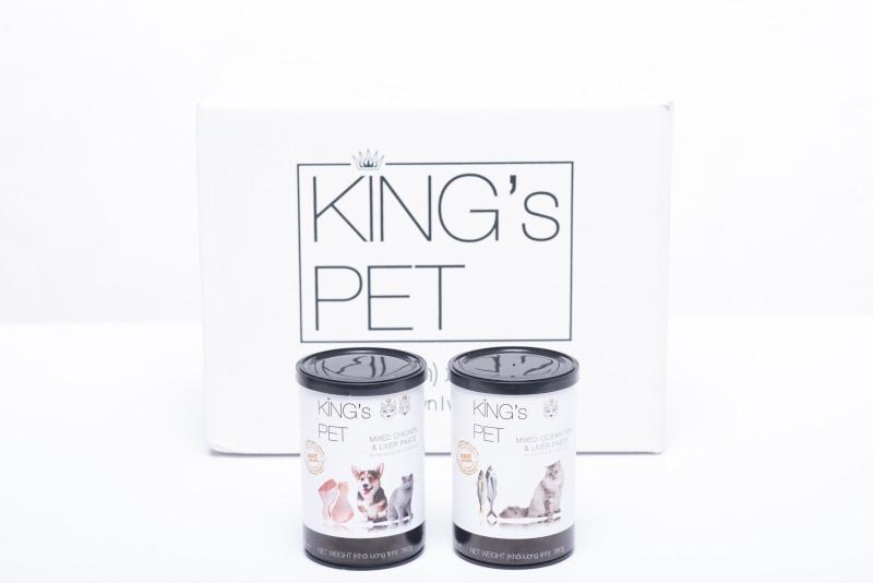 Combo 10 Lon Pate Kings Pet  Vị Gà Và Cá Cho Thú Cưng Lon 380 Gram x10