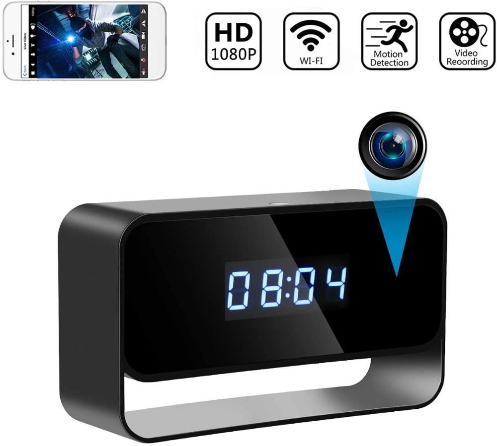 1080P Mini Camera Clock Wireless Clocks Cameras HD WiFi Covert Surveillance Security Cam Night Vision 12/24 Hour Detection Alert