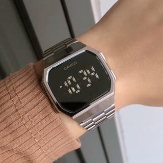 Đồng hồ đeo tay casio tráng gương mặt led đen cảm ứng cực sang trọng, dây thép không dỉ. thumbnail
